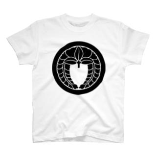 家紋 丸に下り藤 T-shirts