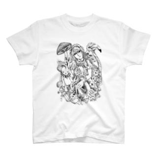 不思議の国のアリス‐手描き風Vrモノクロ T-shirts
