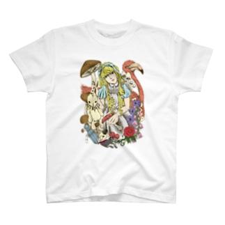 Cɐkeccooの不思議の国のアリス‐手描き風Vrカラー T-shirts
