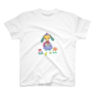 花と犬 T-shirts