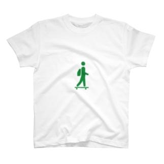 スケボー非常口マーク T-shirts
