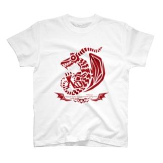 ドラゴルーン魔生物研究所の紋章(紅) T-shirts