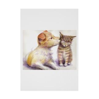 子犬と子猫 Stickable poster