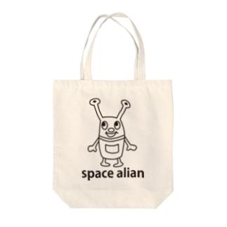スペースエイリアン Tote bags