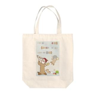 ラッコ+画伯 Tote bags