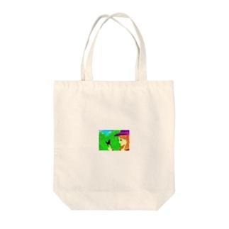 緑と娘と蝶 Tote bags