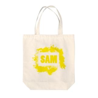 SAMのSAMロゴ(イエロー) Tote bags