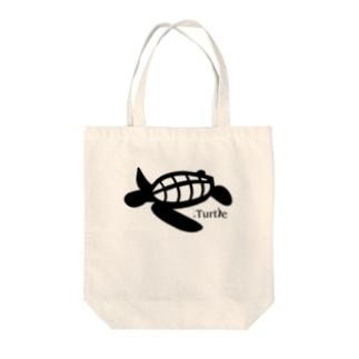 Turtle-Black Tote bags