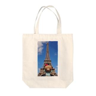 Bonjour!くまこまたエッフェル塔に行く Tote bags