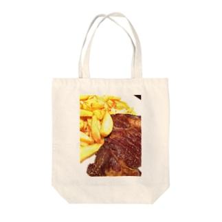 ステーキステキ Tote bags