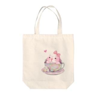 teacup*うさちゃん Tote bags