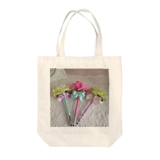 フレンチカラーのフラワーペン Tote bags