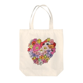Flower Heart Tote bags