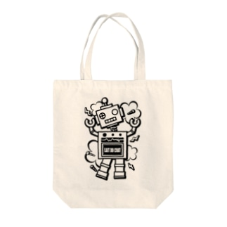 Cɐkeccooのレトロ★ロボット-ポンコツ!?-モノクロ Tote bags