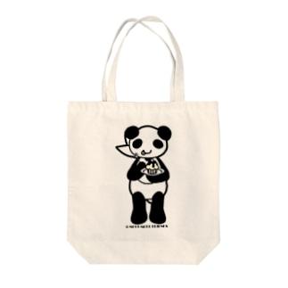 Cɐkeccooのもぐもぐふれんず-ぱんだとカップケーキ白黒 Tote bags