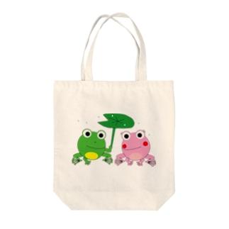 カエルの相合傘 Tote bags