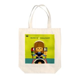 ミュージックイズソウルフード Tote bags