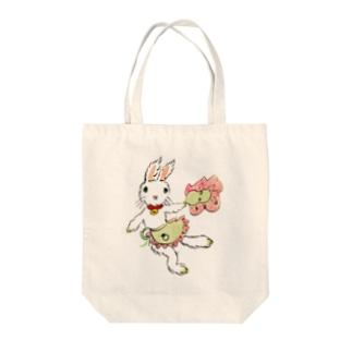 うさぎのマミィ ひょいっ Tote bags