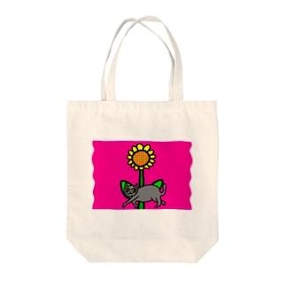 ネコ&ひまわり Tote bags
