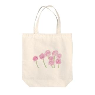 出虹の桃色たんぽぽ Tote bags