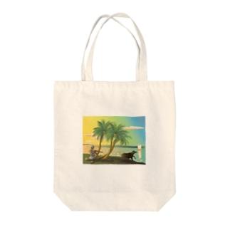 ガンガーの岸辺で笛を吹く Tote bags