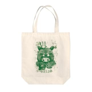 kumanoko hello(緑) Tote bags