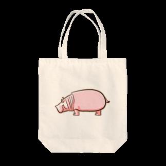 ZIPPLEのピンクのカバさん Tote bags