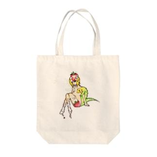 トカゲと女の子 トートバッグ
