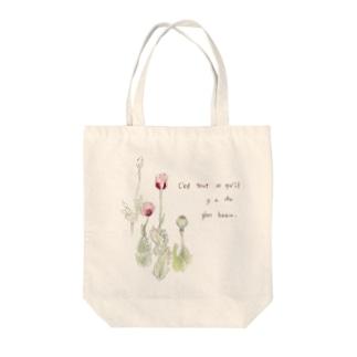 ナチュラルシリーズ「ピンクのけし」 Tote bags