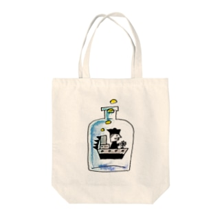 bottle ship Tote bags