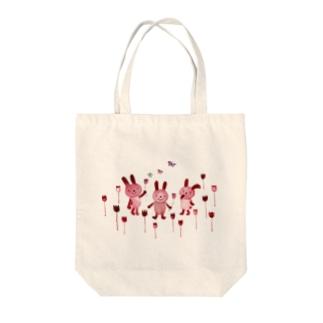 チュウリップうさぎ Tote bags