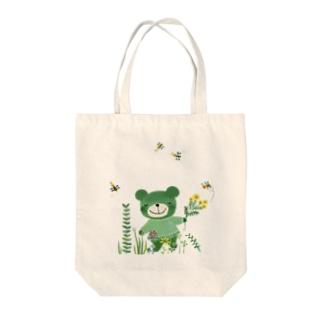 緑のくまさん Tote bags