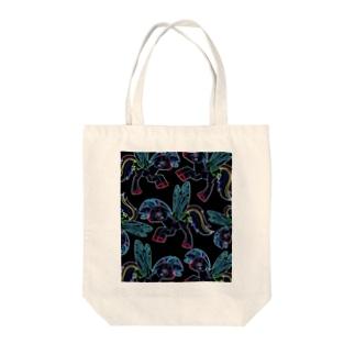 ポニーいっぱい(ブラック) Tote bags