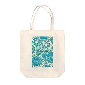 Kissy@Smiley/Kukkasuunnittelijat green blue Tote bags