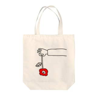 red flower Tote bags