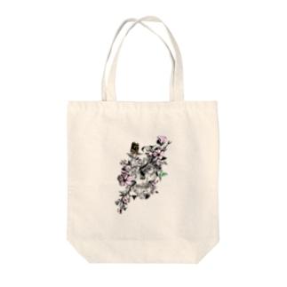 髑髏と花 Tote bags