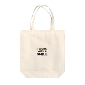 I work with a smile Tote bags