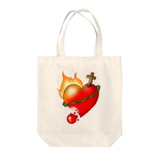 燃えるみこころ Tote bags