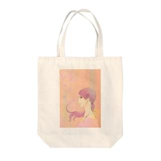花・ピンク・女の子 トートバッグ