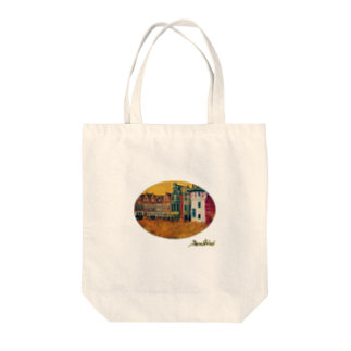 Taku SHIRAIの丸型レンガの街 Tote bags