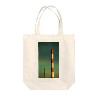 赤白煙突と634 Tote bags