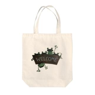 WELCOME_IEKAERU Tote bags