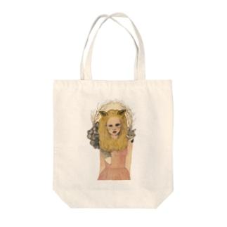 キツネガール Tote bags