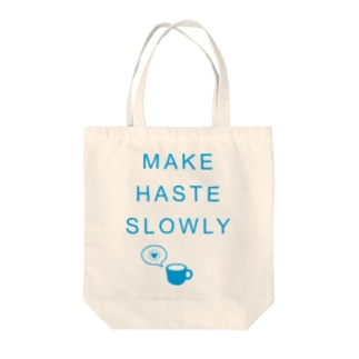 SLOWLY Tote bags
