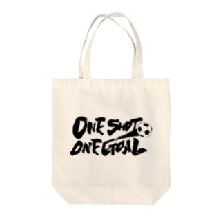One Shot One Goal Tote bags