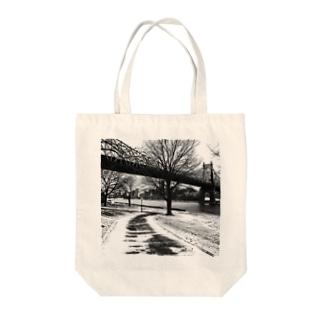 Queensboro Bridge River side, New York, USA, 2014 Tote bags