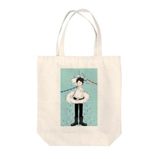 ぴーやまの少年低気圧 Tote bags