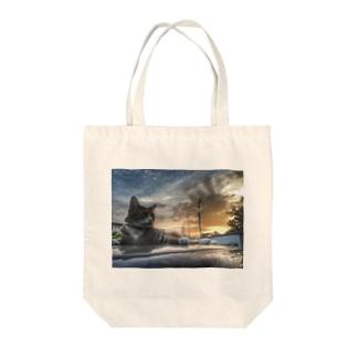 黄昏の猫 Tote bags