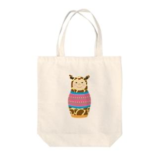 キリンマトリョーシカ Tote bags