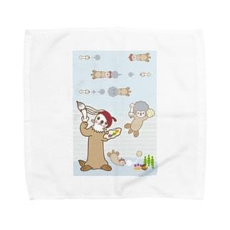 ラッコ+画伯 Towel handkerchiefs